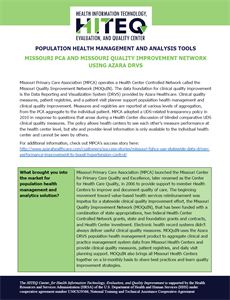 Missouri PCA Population Health Management implementation using Azara DRVS