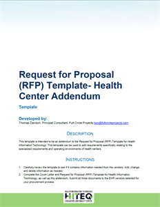 Health Center EHR RFP Addendum