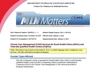 Medicare Chronic Care Management Services in RHCs and FQHCs
