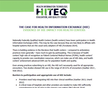The Case for Health Information Exchange