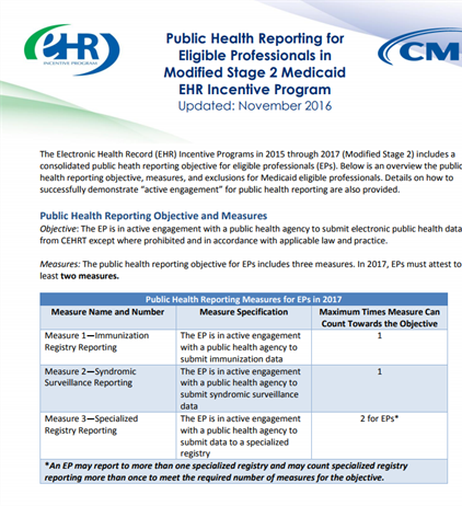 Objective 10 of 10 - Public Health Reporting