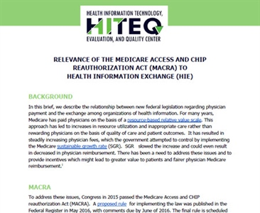 Relevance of HIE to MACRA
