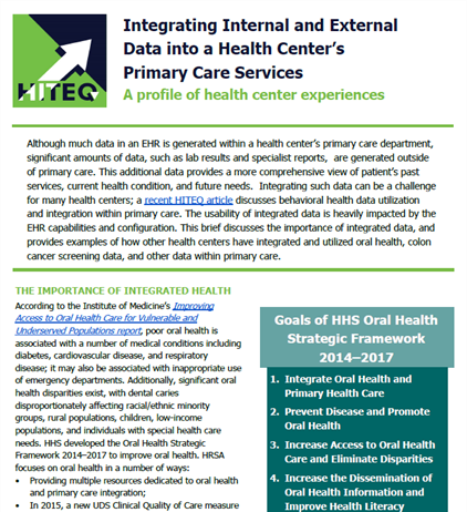 Integrating Internal and External  Data into a Health Center's  Primary Care Services