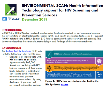 Health Information Technology support for HIV Screening and Prevention Services