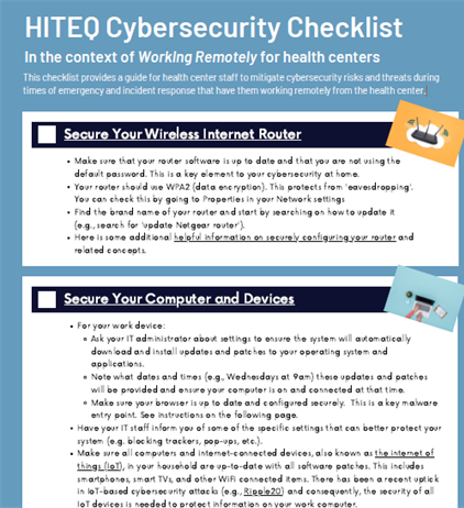 Cybersecurity Checklist for health center staff working remotely