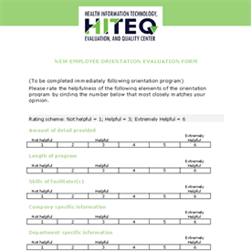New Employee Orientation Evaluation Form