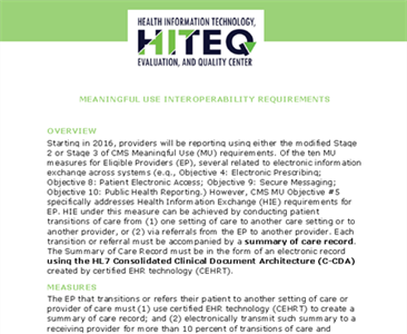 Meaningful Use Interoperability Requirements