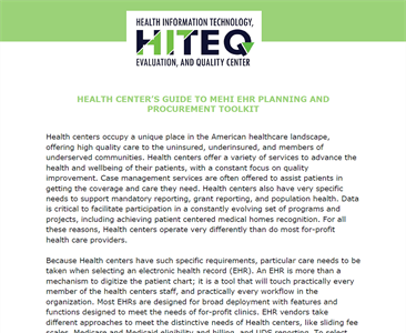Health Center's guide to the MEHI EHR Planning and Procurement Toolkit