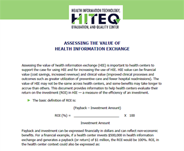 Assessing the Value of Health Information Exchange