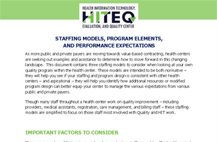 Staffing Models, Program Elements, and Performance Expectations
