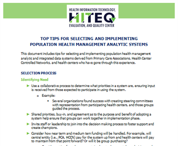 Top Tips for Selecting and Implementing Population Health Management Analytic Systems