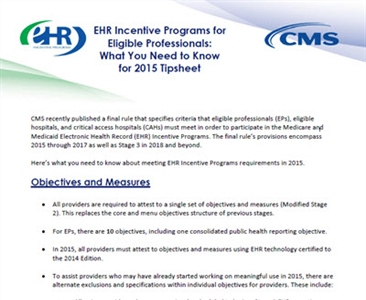 EHR Incentive Programs for Eligible Professionals