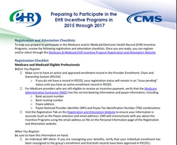 EHR Incentive Programs in 2015 through 2017
