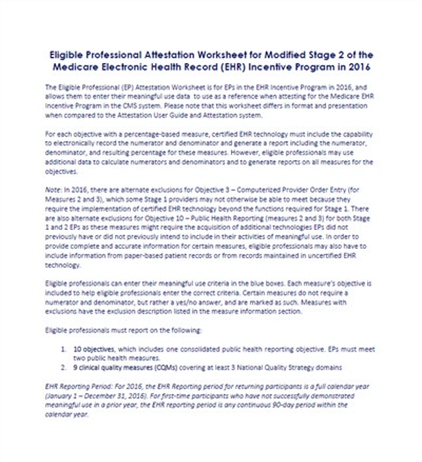 Eligible Professional Attestation Worksheet for Modified Stage 2