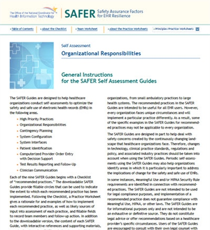 SAFER-2 Organizational Responsibilities